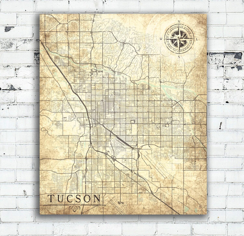 TUCSON AZ Canvas Print Az Arizona Vintage map Tucson Az City