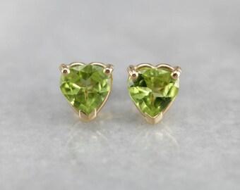Peridot Heart Gold Stud Earrings, August Birthstone D1CD6A-N