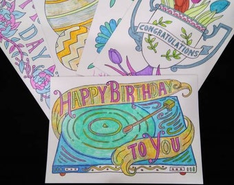 Hand drawn & colored greeting cards 5 cards including envelopes.