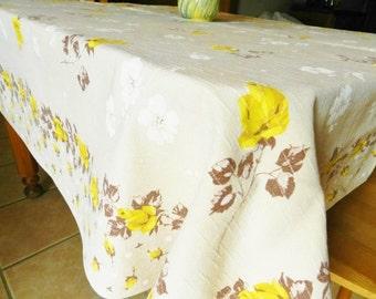 Yellow Rose Tablecloth,  Stevens Simtex Tablecloth, CUTTER, Rose Tablecloth, Tan Tablecloth, Cottage Cotton Tablecloth, Yellow Roses