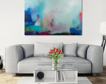 abstract canvas art, abstract painting, art on canvas , canvas art, modern art, painting, Blue landscape painting by Camilo Mattis