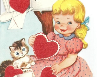 1950s Valentine Card Little Girl with Hearts and Kitten Flocked Hearts Vintage Valentine's Day Card Valentine Ephemera Vintage Greeting Card