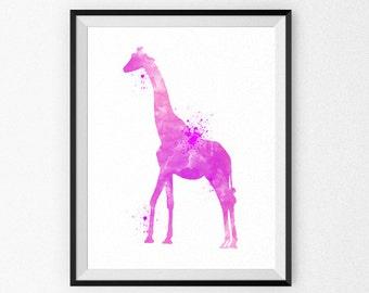 Pink Nursery Art Print - Giraffe Nursery Watercolor Painting - Girl's Room - Children's Art - Nursery Canvas - Nursery Painting