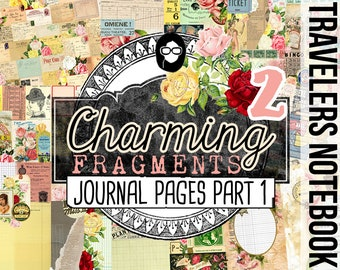 Travelers Notebook - Charming Fragments Part 1 - 10 Printable Midori Insert Pages - travellers notebook, fauxdori insert, junk journal kit