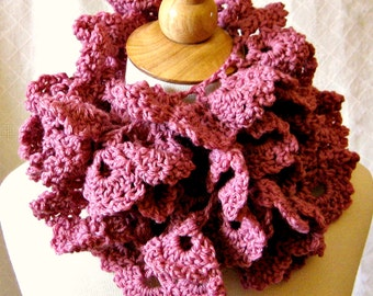 Crochet Scarf Pattern - Rose Petal Wrap - Easy 1-Skein Lace Scarf DIY Instant Download