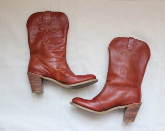 7.5 | 70s Western Loretta Boot / Brown Leather Women's Cowboy Boots / High Ankle Cowboy Boot
