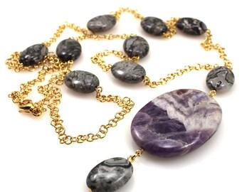 Purple Necklace, Amethyst, Pantone Color Of The Year, Pantone 2018, Pantone Ultra Violet, Ultra Violet Jewelry, Pantone Jewelry, Ultraviolet