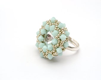 Ring, Mint, Beaded Swarovski Crystal Silver Ring, Statement Ring, Adjustable Ring