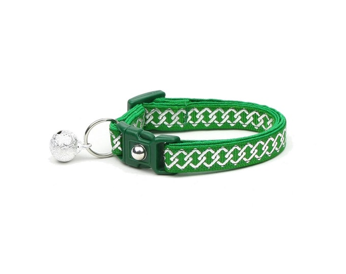 Celtic Knot Cat Collar - Silver Knots on Green - Small Cat / Kitten or Large Cat Collar