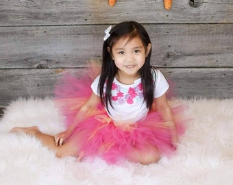 Tutu in Hot pink with yellowish/gold highlights!