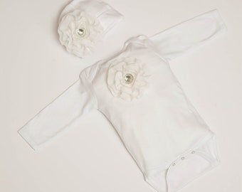 Infant Baby Girl White One Piece Set Long Sleeve Baby Girl Set with Off White Chiffon Flowers and Rhinestones
