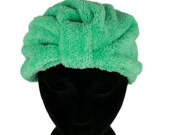 Microfibre Drying Hair Turban Cap Hair Care Treatment Protection Quick Drying Green
