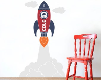 Rocket Wall Decal Outer Space Launch Boys Name Baby Nursery Kids