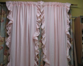 Ruffled Linen Curtains----Rod Pocket Linen Curtains ---Baby Pink Linen-Custom Ruffled Curtains-Available in Any Linen Color