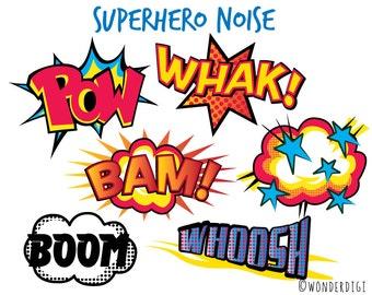 Superhero Clipart -Comic Noise clip art  - Boys Clipart - Wonderdigi clip art