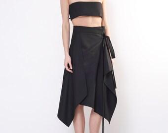 Black midi skirt / Midi skirt woman / Midi skirts / Asymmetrical midi skirt / Black maxi skirt / Wrap skirt / High waist skirt / Maxi skirt