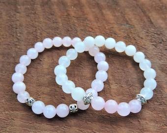 Healing Bracelet Stack, Snow Quartz Bracelet, Rose Quartz Bracelet, Chakra Bracelet, Healing Meditation Bracelet, Yoga Bracelet, Wrist Mala