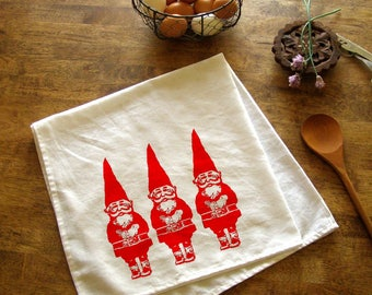 Gnome Tea Towels Purple Gnomes Kitchen Towel CUTE housewarming screen print retro kitchen Indie Housewares Woodland Gifts
