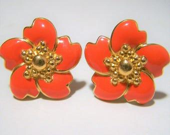 Monet Enamel Floral Earrings, Orange Flower Petals, Gold Tone Setting, Clip On Style 118