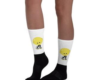 Roller Derby Skater Socks Lemon Head Rollerskater Stockings Lemon Yellow Inline Skate Socks for Roller Rink Rollerskating Socks Funny Socks