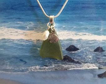 Fish sea glass necklace