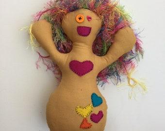 Happy Rainbow Monster Doll - Art Doll