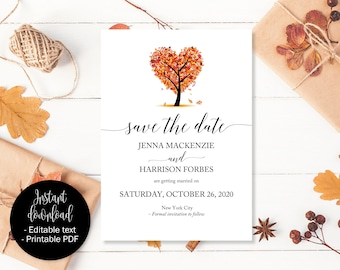 Fall Save the Date Template, Fall Wedding Save the Date, Fall Save the Date Cards, Autumn Wedding Save the Date, Autumn Love Tree Save Date