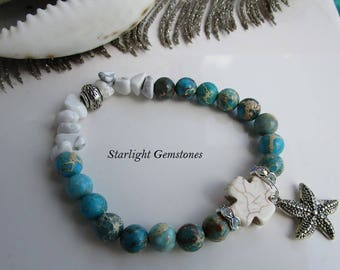 Gypsy Tribe - Boho Beach Inspired Gemstone Bracelet with White Howlite Chips and Imperial Jasper plus Starfish Charm