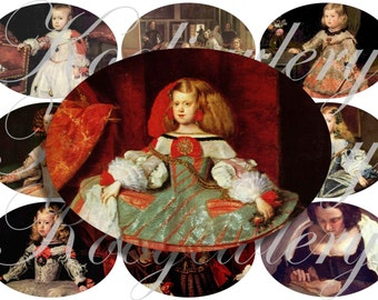 Velazquez alterated art images large oval for belt buckle and more digital collage sheet No.1148