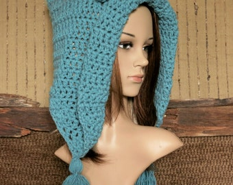 Crochet Bear Hood, Turquoise Chunky Wool Hat, Baby Photo Prop, Winter Adults Hat With Ears
