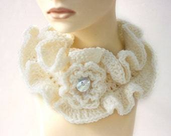 White Ruffled Cowl Scarf Neckwarmer,  Crochet Ruffle Scarf, Ready to Ship, Flower Button Closure, Ruffle Collar
