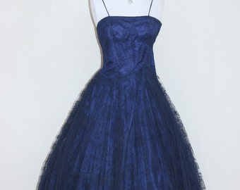 Gorgeous Vintage 1940s Midnight Navy Blue Lace Dress with Bolero COCKTAIL FROCK