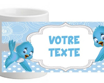UNBREAKABLE CUTE BIRD MUG PERSONALISED WITH THE TEXT OF YOUR CHOICE