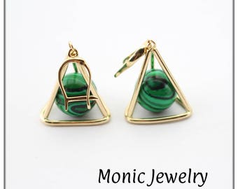 Solid Gold 14K Malachite Unique  Pyramid Egypt Evil Eye Protection Earrings