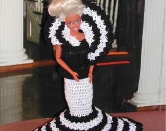 Crochet Fashion Doll Barbie Pattern- #136 FANCY FROCK #1