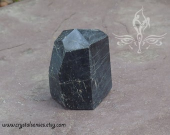 Black Tourmaline Gemstone Crystal Point 27mm x 28mm x 41mm (BTOUP0012)