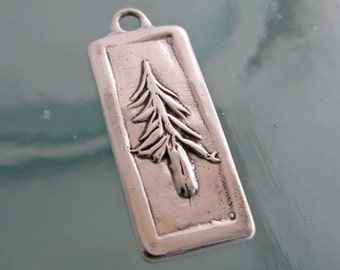 Handcrafted Silver Carved Pine Jewelry Component