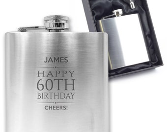 Personalised engraved 60TH BIRTHDAY hip flask gift idea, stainless steel presentation box - BD60