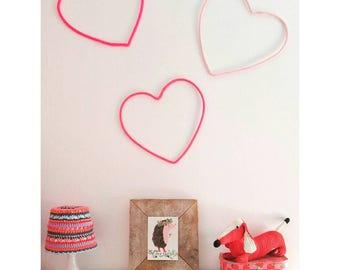 "Heart Home Decor, Heart Wall Art, Wall Decor, Heart Silhouette, Love Wall Decor, Wire Wall Art, Love Decor, 12"" Heart Decor, Girls Room Deco"