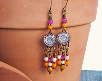 Kaleidoscope Chandelier Earrings, Hippie Boho, Gypsy beaded Earrings, Colorful dangle earrings - Mandala Art