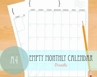 Empty Monthly Calendar