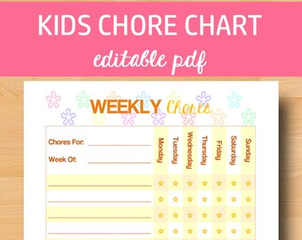 Editable Chore Chart, Kids Chores Printable, Kids Chore Chart, Children Chores, Kid Job Chart, Editable PDF, Letter Size, Instant Download