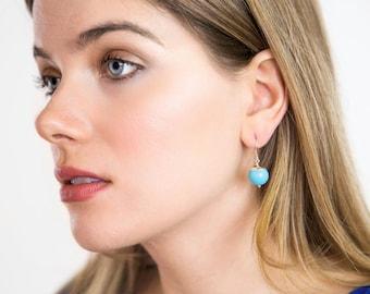 Turquoise Earrings - Sterling Silver Earrings - Dangle Earrings - Blue Jewelry - Silver Earrings - Simple Earrings - Gift For Her