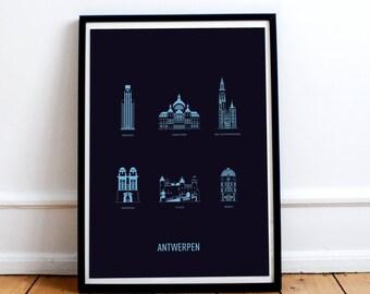 Antwerp poster  A3 screenprint -  11.4 x 16.5 in - A3 - Dark blue