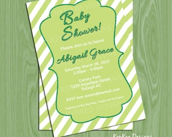 DIY Printable 4x6 Baby Shower Invitation-Verticle Stripes and Glitter Green