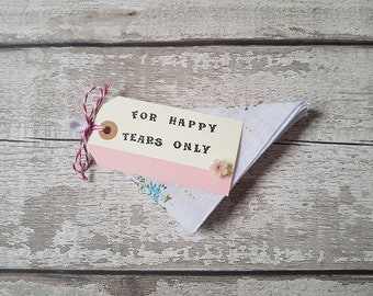 celebration handkerchief For Happy Tears Only favour cotton gift floral hankie funeral passing ceremonies christening wedding naming day