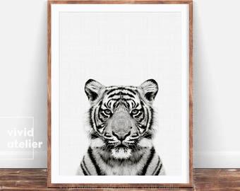 Black and White Tiger Print, Photography, Nursery Decor, Safari Animal, Safari Wall Art, Nursery Safari Decor, Printable Safari Art,