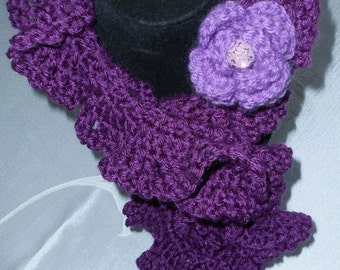 Dark plum curly scarflette with flower accent//accessories//scarf//gifts for her