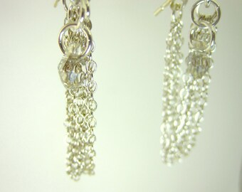 Swarovski crystal sterling silver tassle earrings, sterling silver swarovski earrings, New Years chain tassle earrings