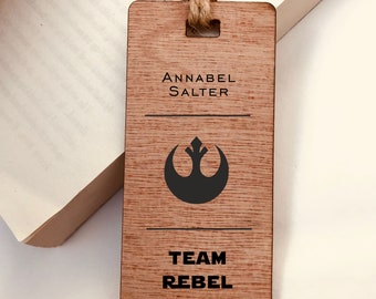 Wooden Bookmark, Star Wars Team Rebel Alliance - Personalised, Engraved, Family Gift, Reader, Custom, Birthday, Christmas, Vintage, Rustic